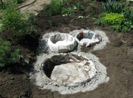 Прудики в саду своими руками из покрышек 45